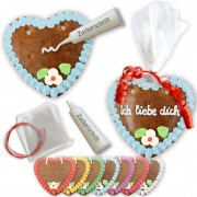 Self-labelled gingerbread heart -set, 14cm