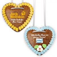Gingerbread heart with desire motif on full foil sticker, 14cm