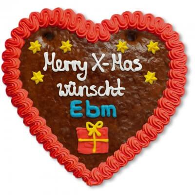 Christmas Gingerbread Heart individual, 18cm
