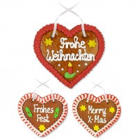 Christmasy gingerbread hearts, 12cm