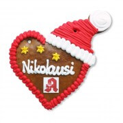 Gingerbread Heart with Christmas Cap, 16cm