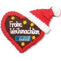 Gingerbread Heart with Christmas Cap, 20cm