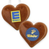 Gingerbread heart Economy Quality 12cm, with edible company-logo