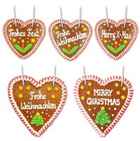 Gingerbread hearts saying and sizing