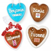 Gingerbread Hearts, 10cm - optional with Logo