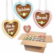 Bavarian sayings - Gingerbread hearts mixed in a carton