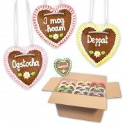 Gingerbread hearts mixed in a carton - 10cm - Naughty Bavarian sayings