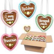 Gingerbread hearts mixed in a carton - 10cm - various themes & sizes