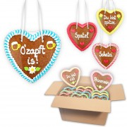 Gingerbread Hearts Mixed Box 14cm - 20 hearts per box - various themes