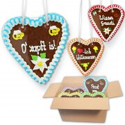 Gingerbread Heart Mixed Box -18cm - 20 hearts per box - various