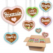 Super mini - Gingerbread Heart Mixed Box -8 cm - 30 hearts per box - various