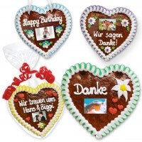 Individual gingerbread heart 18cm optional with photo and text of your choice