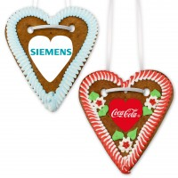 Gingerbread heart with logo from sugar paper, 20cm