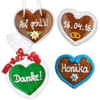 Individual gingerbread hearts 8cm