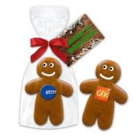 Gingerbread man 15cm with edible logo and printed card