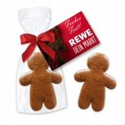 Gingerbread man 7 cm - cellophane Packed with an individual advertising card