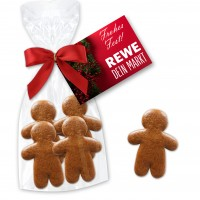 Mini gingerbread man 4 pieces in a gift bag with attached card