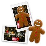 Gingerbread puzzle piece, with individual promotional card