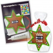 Gingerbread star crafting kit - with border, green