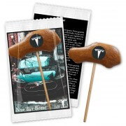 Gingerbread Lolli car with logo & advertising card, 9cm