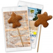 Gingerbread-lollipop special design with advertising card, 7cm