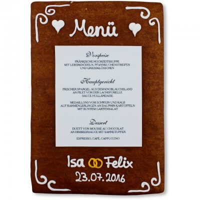 Gingerbread Menu Card Vanessa