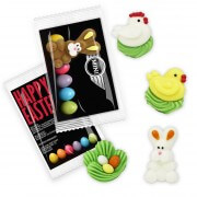 Promo business card with mini easter figurine