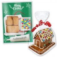 Gingerbread house kit with instructions, 9x6x7cm