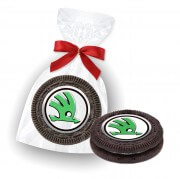Oreo Cookie with edible logo in present bag