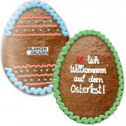 Giant-Easter egg made of cookie, approx. 50 cm with picture/logo and lettering