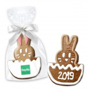 Bunny in Egg Easter cookie about 12cm optional with logo or text