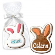 Rabbit head Easter present about 12cm opt. with logo & text