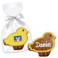 Easter gifts chick cookie approx. 12cm with logo and text