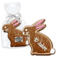 Easter gift bunny made out of cookie, 15cm opt. with logo & text