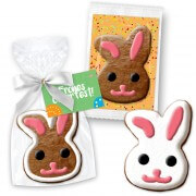 Easter cookie bunny head as a gift about 12cm with advertising card