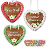 Gingerbread heart 14cm with sticker - different sayings