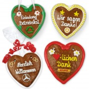 Gingerbread heart 14 customizable with text and optional logo