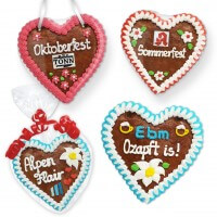 Your logo on a gingerbread heart 16cm