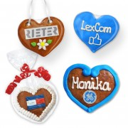 Gingerbread hearts 8cm individually with logo