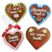 Customizable gingerbread heart 12cm optionally with logo