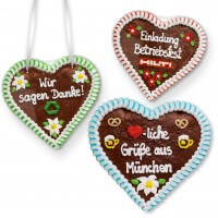 Heartshaped gingerbread 24cm individually with logo and text