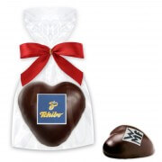 Dark chocolate gingerbread heart - including logo