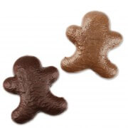 Variety selection bittersweet and whole milk gingerbread man