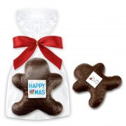 Dark chocolate- gingerbread man, optional with logo
