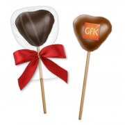 Gingerbread chocolate heart Lolli -Pop - with logo on request