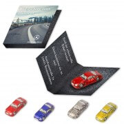 Chocolate car with individual advertising card