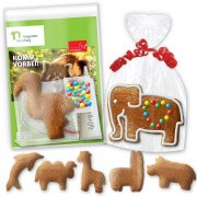 Individual gingerbread do-it-yourself kit - zoo animal shapes - with individual promo card