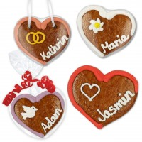 Place card heartshaped made of gingerbread 8cm