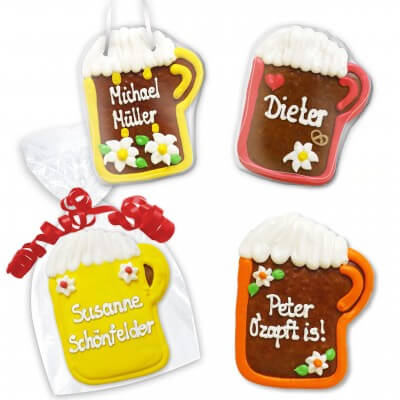 Beer mug made of gingerbread as a place card 12cm