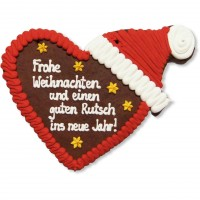 XXL Gingerbreadheart with Christmas Cap individual, 41cm